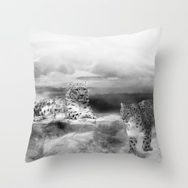 Snow Leopards In Peace Throw Pillow