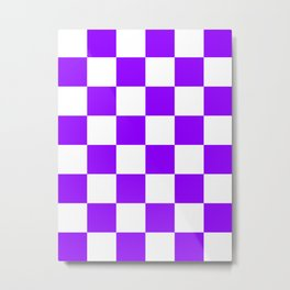 Large Checkered - White and Violet Metal Print