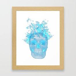 Blue Flame Skull Framed Art Print