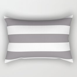 Taupe gray - solid color - white stripes pattern Rectangular Pillow