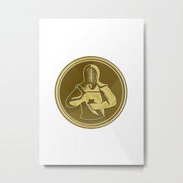 Kendo Swordsman Gold Medal Retro Metal Print