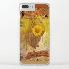 fille avec une fleur jaune Clear iPhone Case
