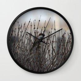 Chickadee in a Bush Wall Clock