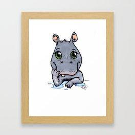 Cute Critters - Baby Hippo Framed Art Print