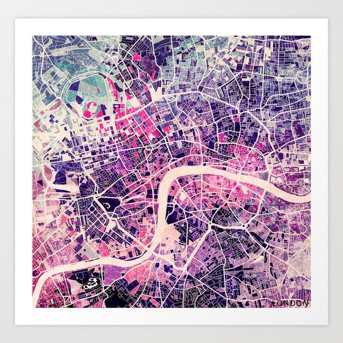 London Mosaic Map 2 Art Print by mapsmapsmaps Society6