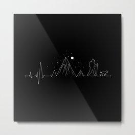 Hiking Heartbeat Mountain Lifestyle Metal Print
