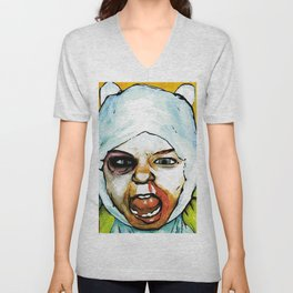Realistic, Battle Damaged Finn  by Aaron Bir Unisex V-Neck