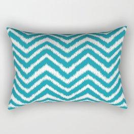 Ikat Chevron: Teal Rectangular Pillow