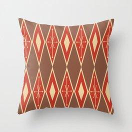 Mid Century Modern Large Diamonds Brick Red Beige Throw Pillow