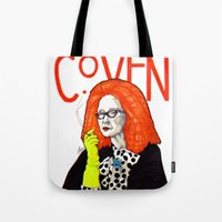coven Tote Bags featuring WE PROTECTED THE COVEN by Robert Red ART