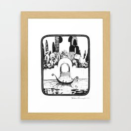 "Vintage Illustration - ""Fantasy Garden Canal Scene"" Framed Art Print"