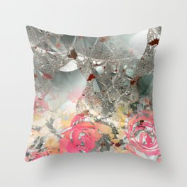 Misty rose garden Throw Pillow