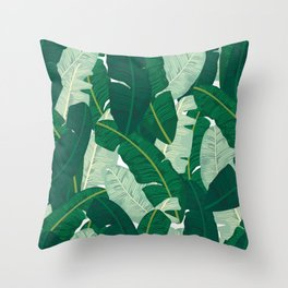Classic Banana Leaves in Palm Springs Green Throw Pillow