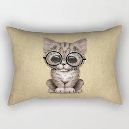 Cute Brown Tabby Kitten Wearing Eye Glasses Rectangular Pillow