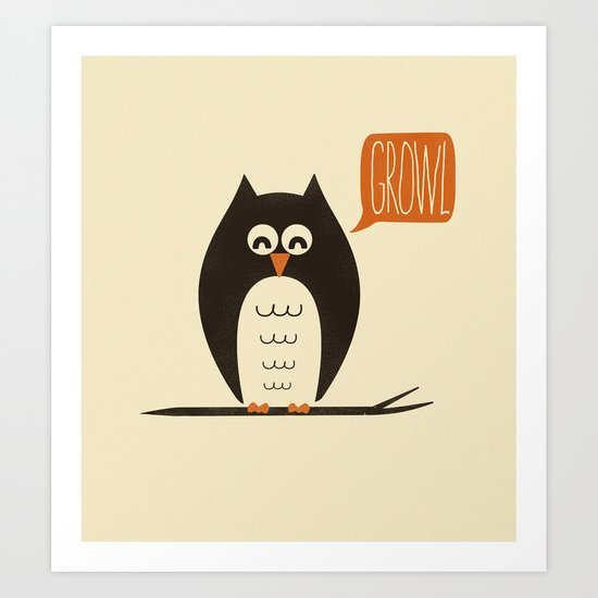 An Owl With a Growl Art Print