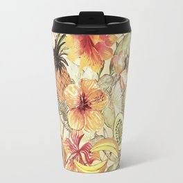 My Sepia Tropical Summer Hibiscus And Fruits Garden - Jungle Pattern Travel Mug