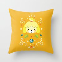 animal crossing Throw Pillows featuring Animal Crossing: Isabelle by Anth Rodi