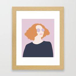 Orange Hair Girl // Minimalist Indie Rock Music Festival Lavender Sunglasses by Mighty Face Designs Framed Art Print