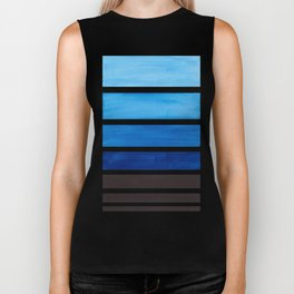 Prussian Blue Minimalist Watercolor Mid Century Staggered Stripes Rothko Color Block Geometric Art Biker Tank