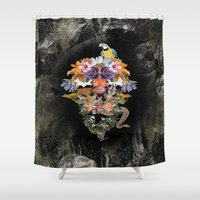 animal skull Shower Curtains featuring ANIMAL SKULL by sametsevincer