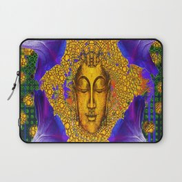 PURPLE MORNING GLORY GOLDEN BUDDHA FACE Laptop Sleeve