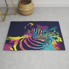 Zebra Splatters Colorful Animals Rug