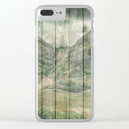 Rustic Country Wood Mountains Landscape Clear iPhone Case