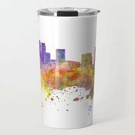 Newark skyline in watercolor background Travel Mug