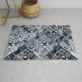 Simply Tribal Tiles in Indigo Blue on Lunar Gray Rug