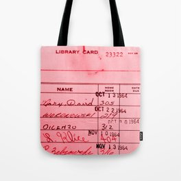 Library Card 23322 Pink Tote Bag