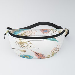 Golden Peacock Feather Pattern 14 Fanny Pack