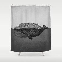 Whale City Shower Curtain