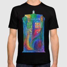 Tie Dye Tardis- Doctor Who Black Mens Fitted Tee SMALL