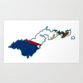 American Samoa Map with Samoan Flag Art Print