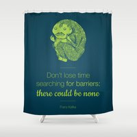 kafka Shower Curtains featuring Don't lose time by Lucia Cillene