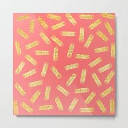 Elegant Pink and Gold Brushstroke Pattern Metal Print