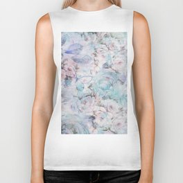 Shabby vintage pastel pink teal floral butterfly typography Biker Tank