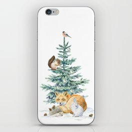 christmas tree in the forest iPhone Skin