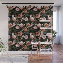 Vintage & Shabby Chic - Blush Camellia & Kingfishers Wall Mural