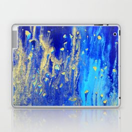 Blue & gold abstract 171010 Laptop & iPad Skin