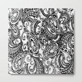 paisley batik black Metal Print
