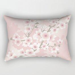 Vintage Floral Cherry Blossom Rectangular Pillow