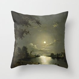 Classical Masterpiece Moonlit River Landscape with a Town by Abraham Pether Throw Pillow