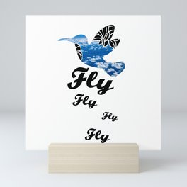 Flying Bird with Clouds Mini Art Print