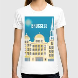 Brussels, Belgium - Skyline Illustration by Loose Petals T-shirt