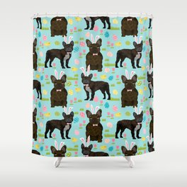 French Bulldog easter spring dog breed gifts pure breed frenchies black coat Shower Curtain