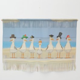 Seagulls with Hats Wall Hanging