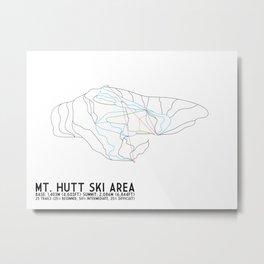 Mt. Hutt, Christchurch, NZ - Minimalist Winter Trail Art Metal Print