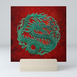 Wooden Jade Dragon Carving on Red Background Mini Art Print