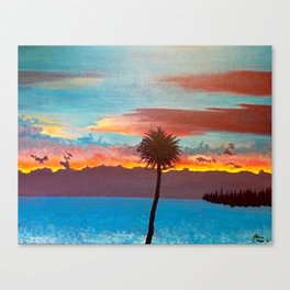 The Beautiful Key West Sun is captured in this ocean sunset painting Canvas Print